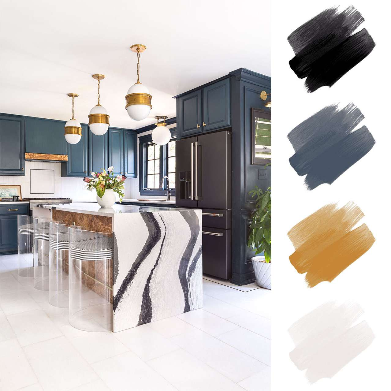 kitchen color schemes - navy and gold and black