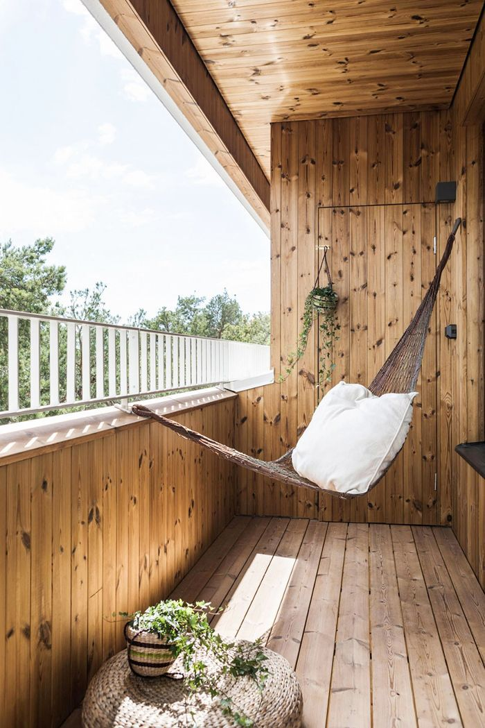 Small-Space Scandinavian Design—Hammock on the Balcony