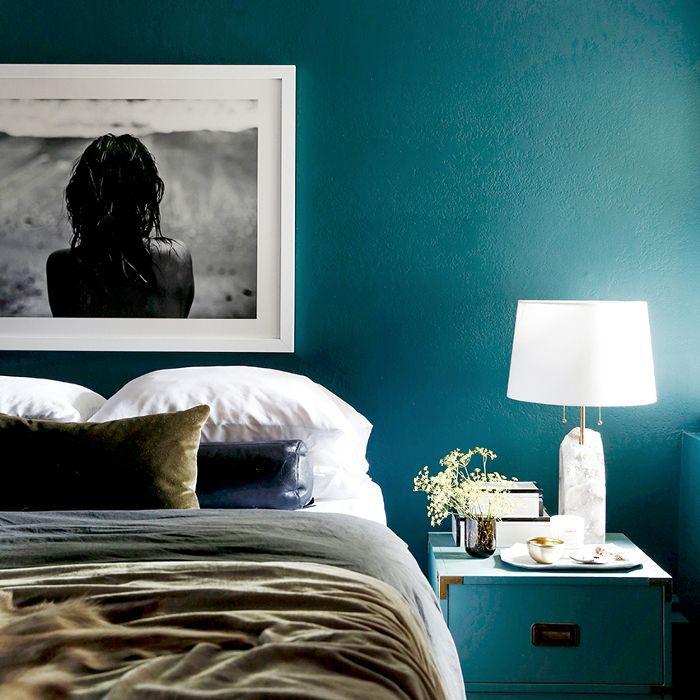 dormitorio verde azulado