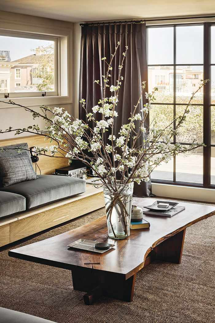Living room with wooden coffee table