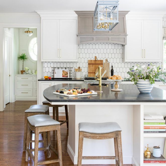 Traditional kitchen with powder blue pendant light