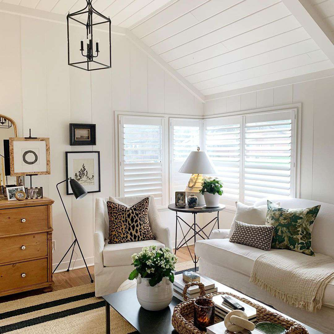 Living room with sloped ceilings