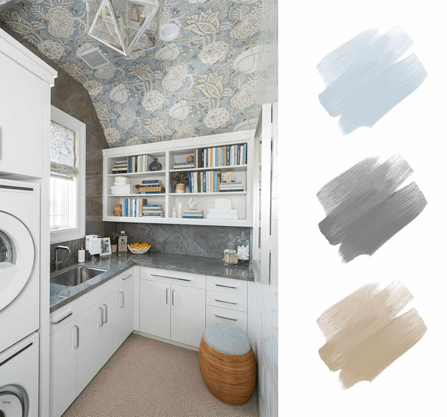 best interior color schemes - blue and gray and tan