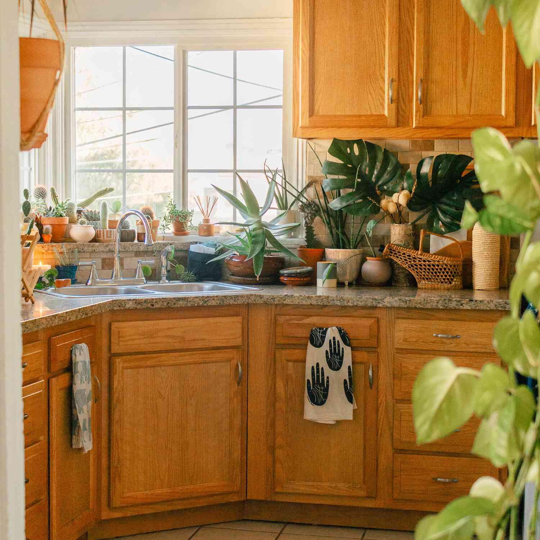 blue rug in wooden kitchen