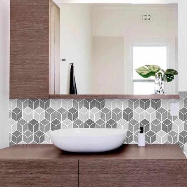 Cube Grigio Peel & Stick Backsplash - Tic Tac Tiles