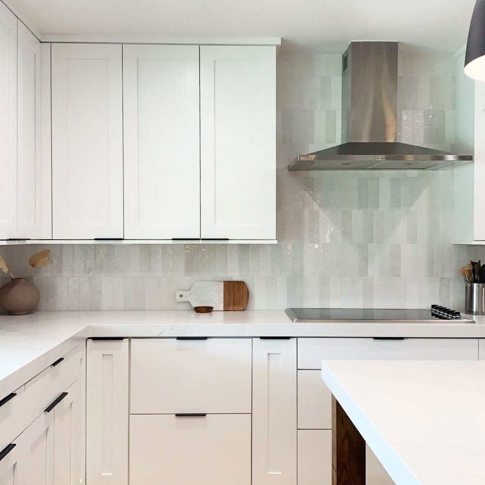 Kitchen with gray tiles stacked bond