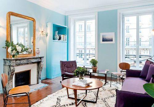 Aqua Parisian family room