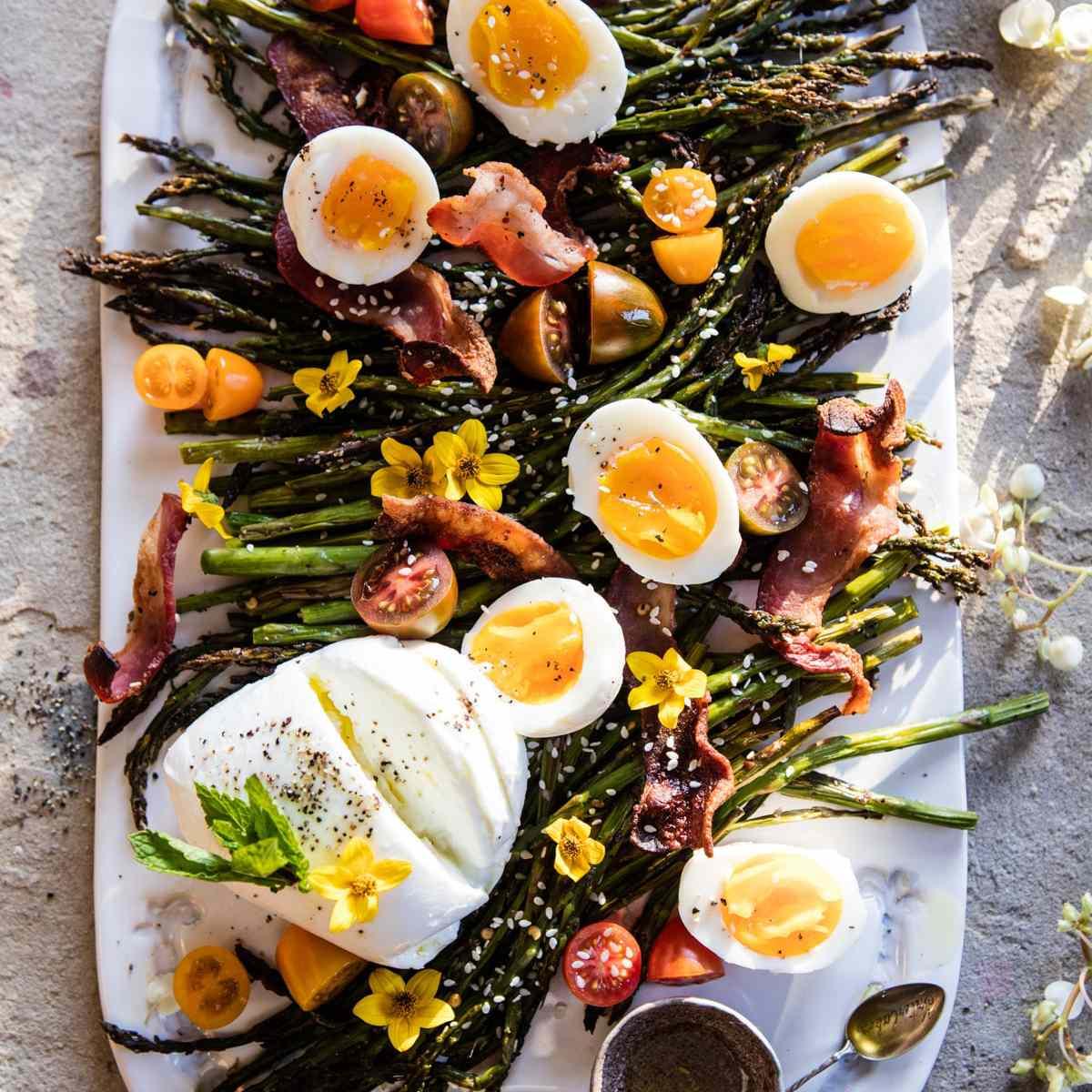 sesame roasted asparagus, egg and bacon salad— Easy Asparagus Recipes