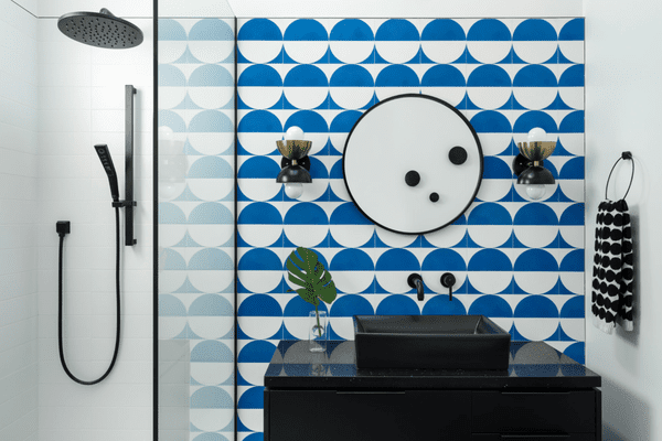 A bathroom with mod clue and white wallpaper on the walls