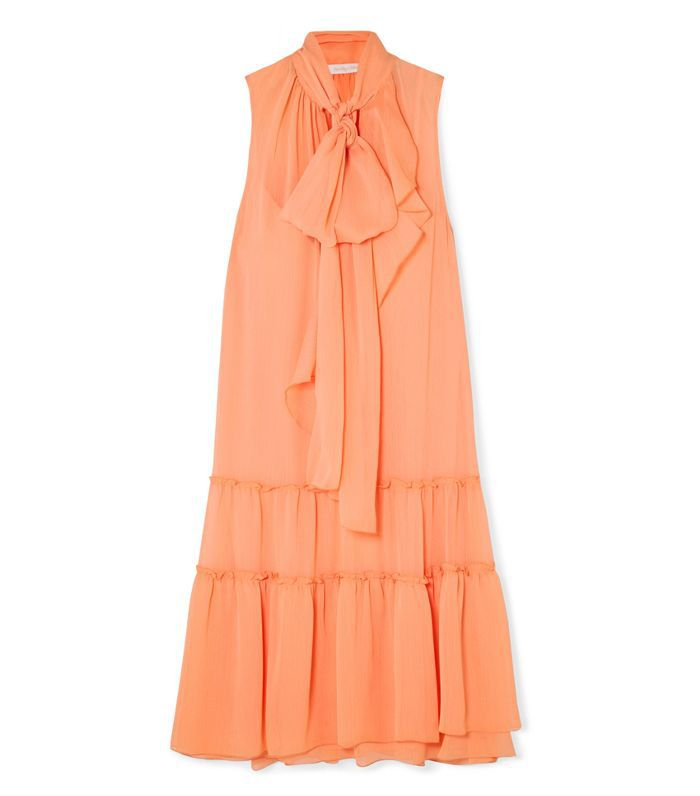 Pussy-bow Tiered Crepon Dress