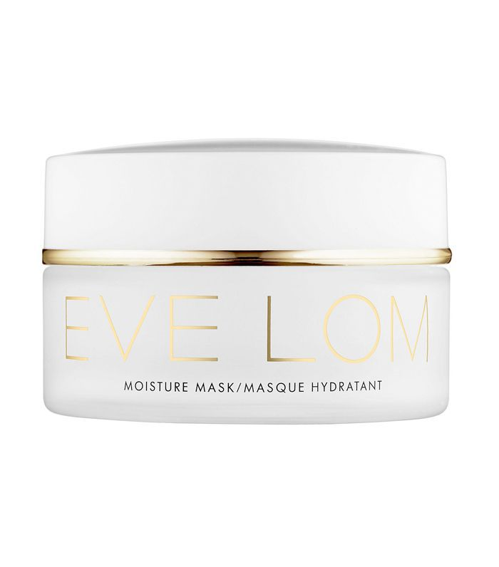 A 3.3 oz white container of Eve Lom Moisture Mask with gold lettering.