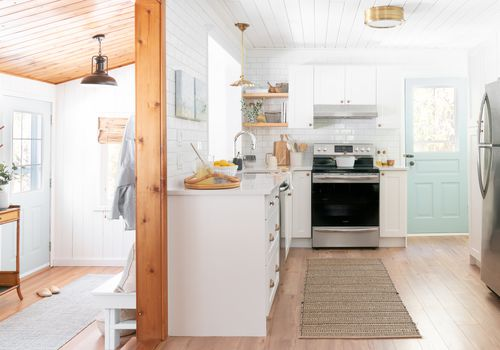 Kitchen in beach house rental property.