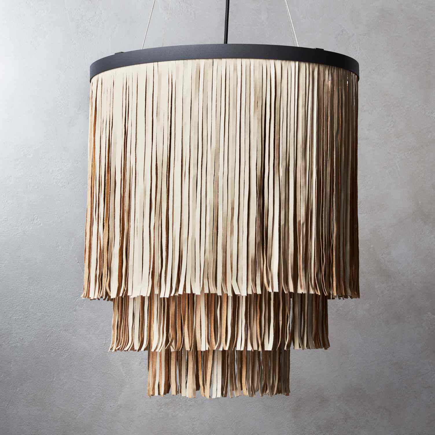 Fringe Faux Leather Pendant Light