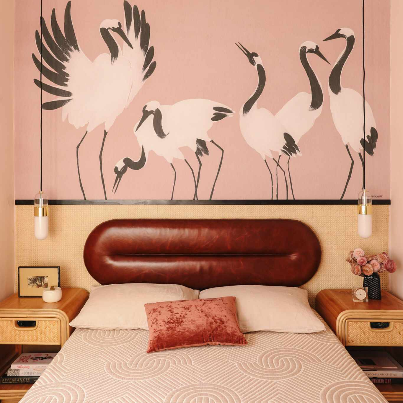 Retro bedroom with leather headboard by Anne Sage