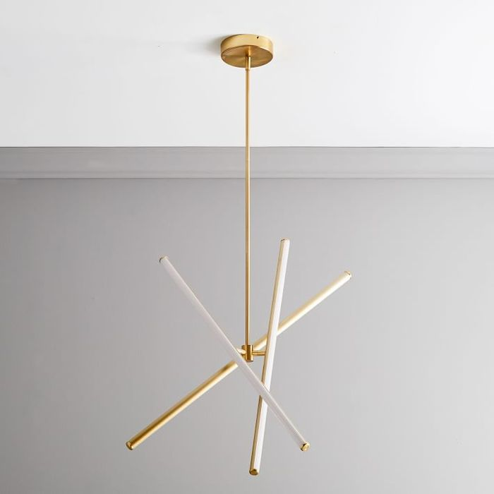 West Elm Light Rods LED Chandelier in Antique Brass