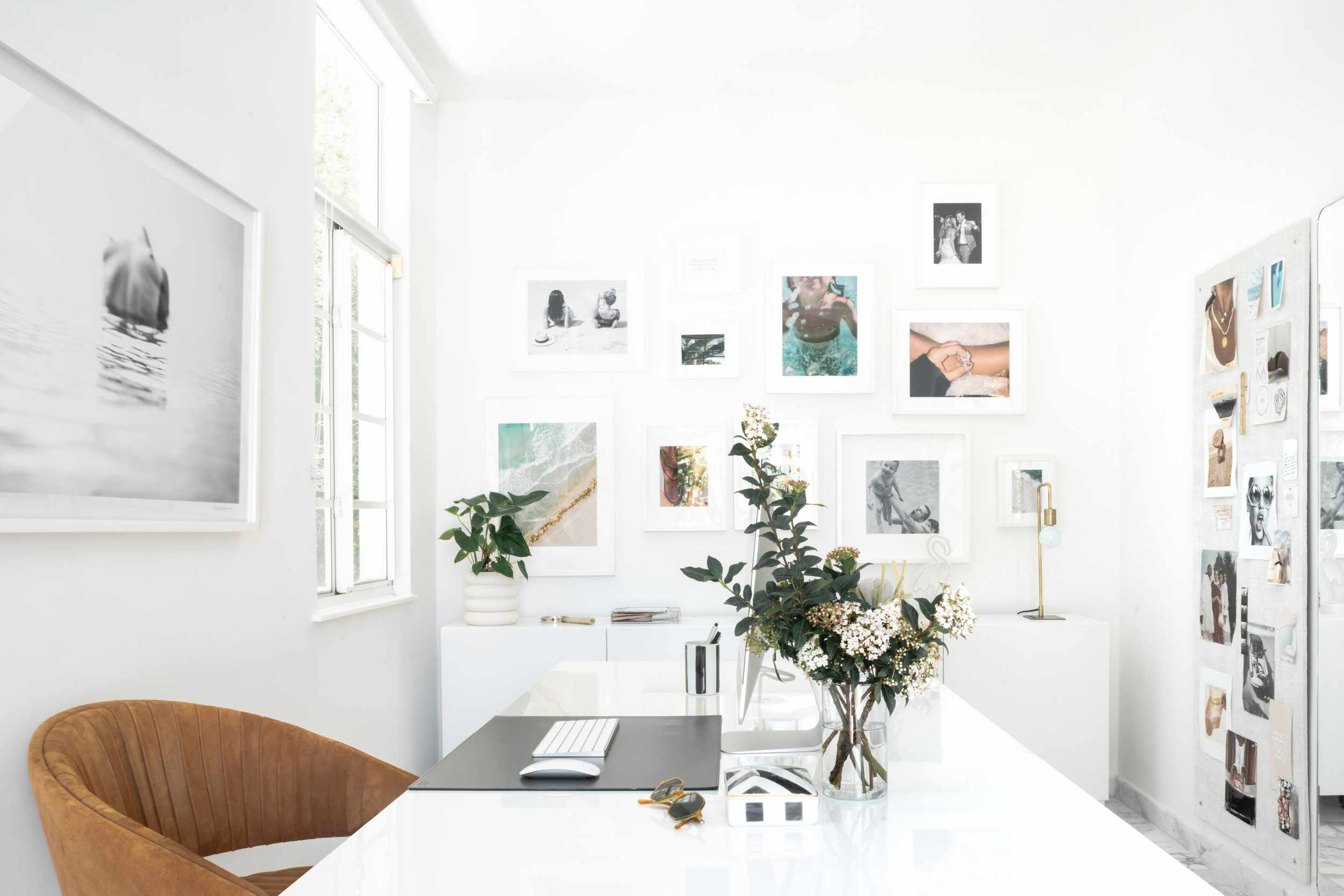 Office space with gallery wall.