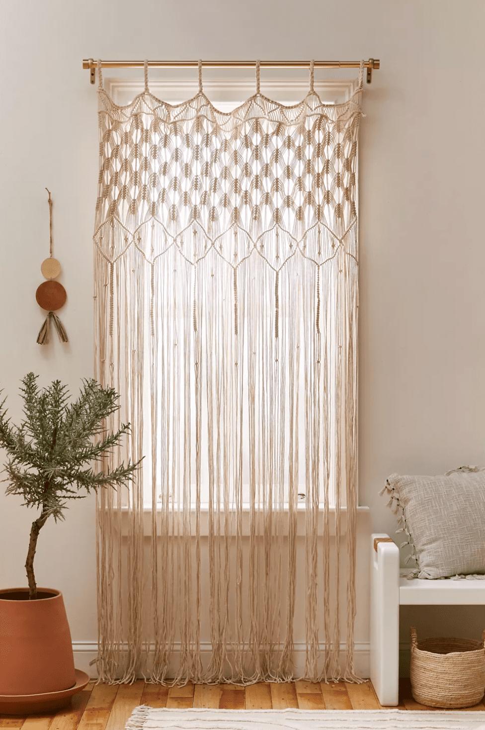 A macrame window panel