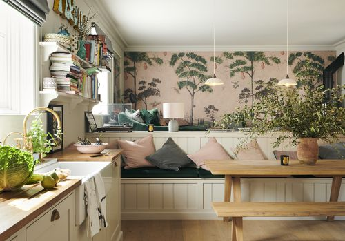 Pink kitchen with wallpaper