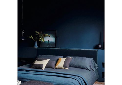 Sarah Sherman Samuel navy blue bedroom