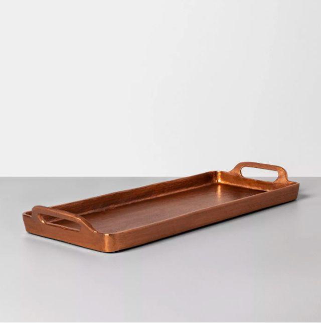 Antique Copper Finish Decor Tray