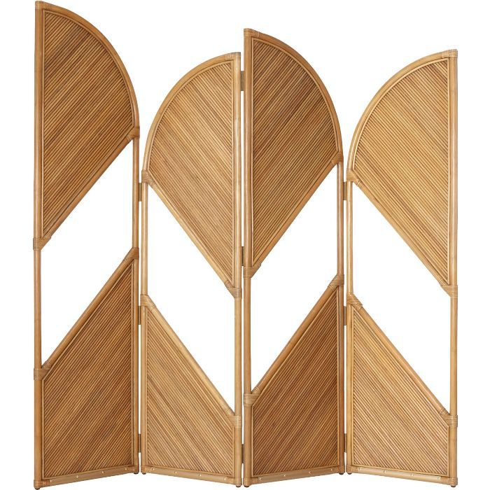 CB2 Fan Natural Rattan Room Divider