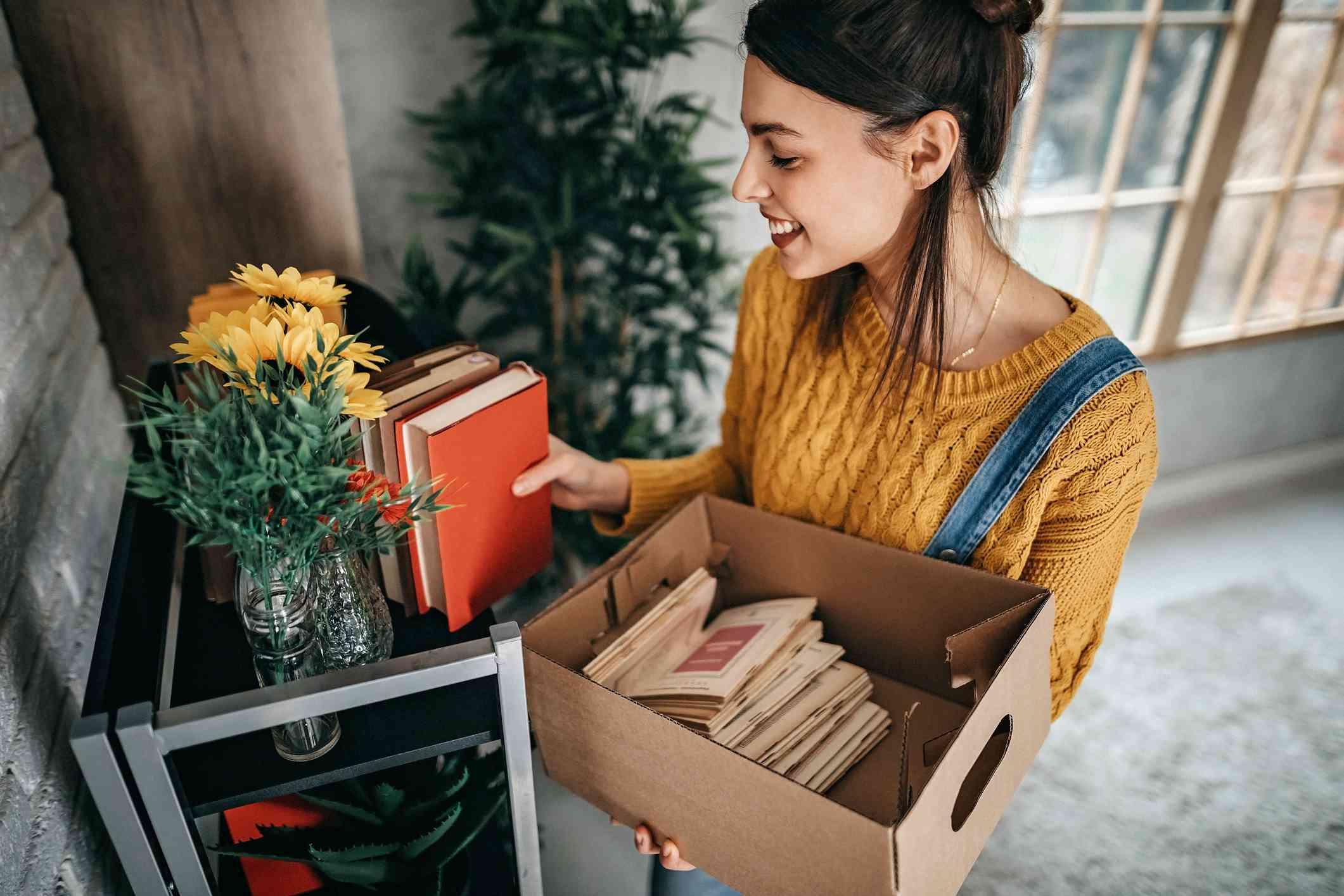 woman with box of stuff