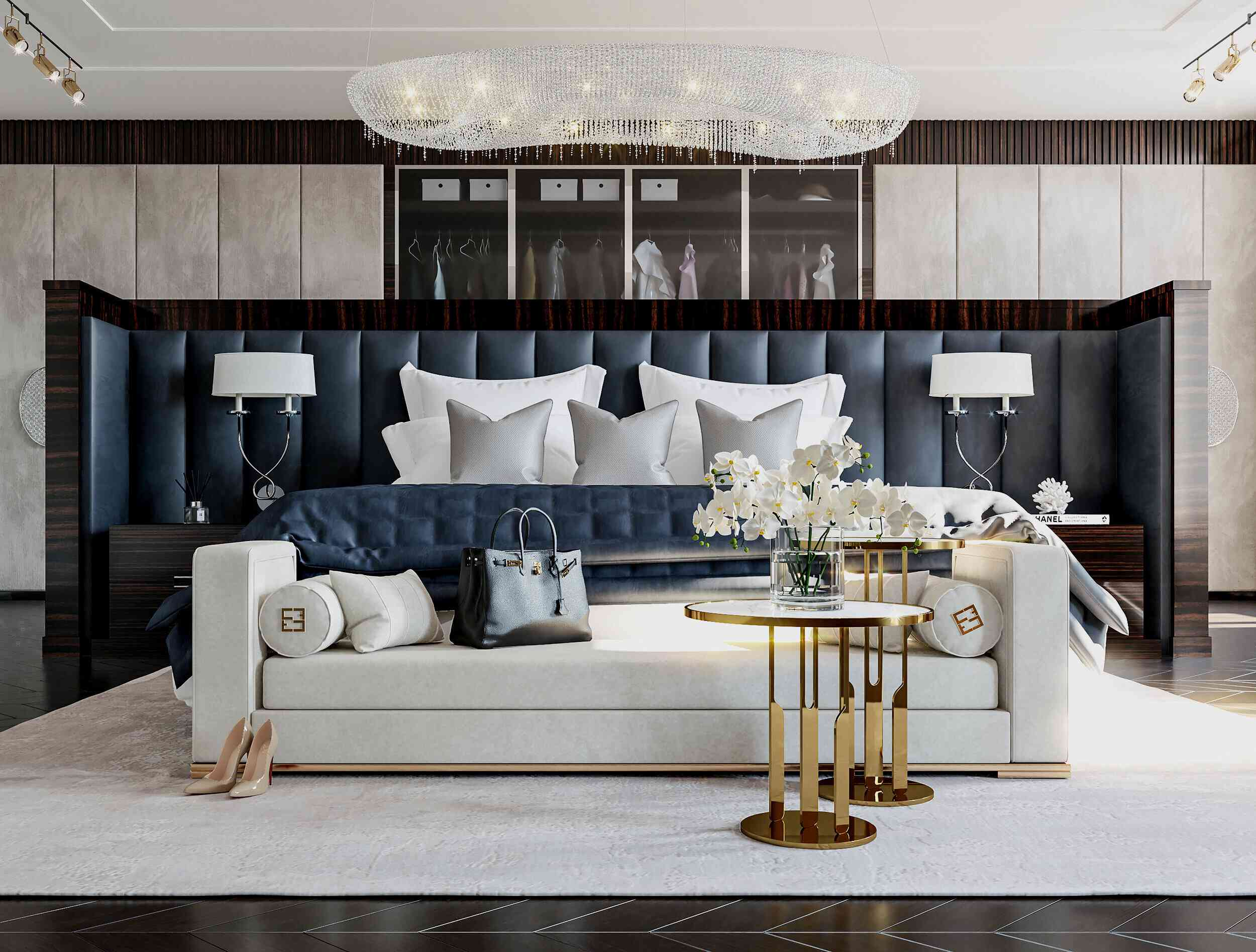 Maximalist bedroom with cream and navy accents