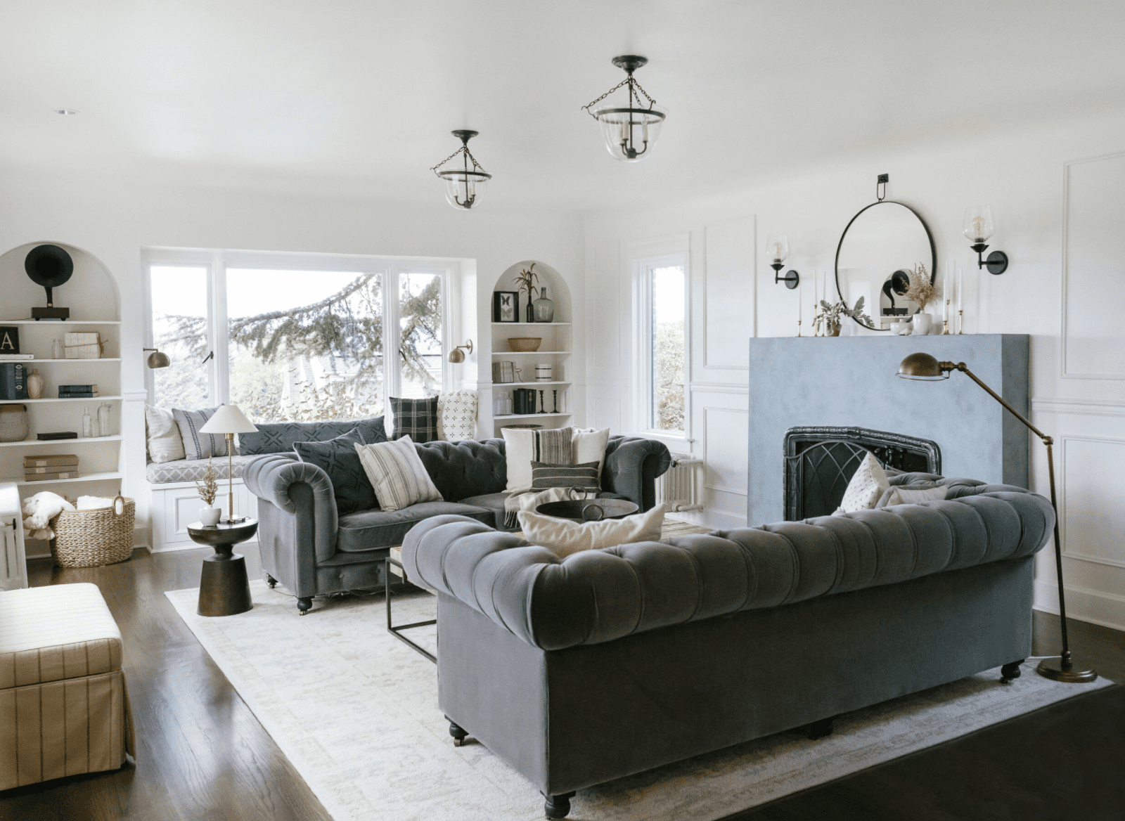 Living room with gray couches