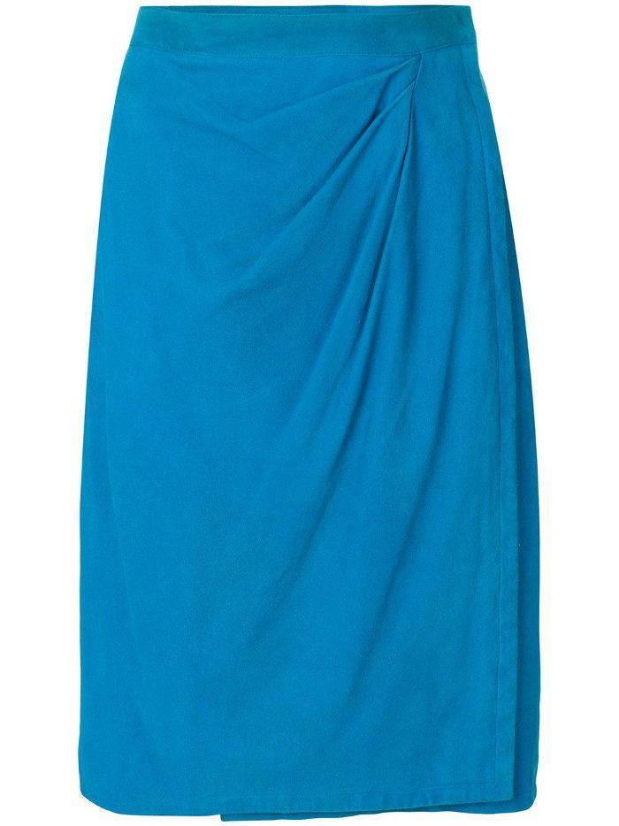 draped front leather skirt