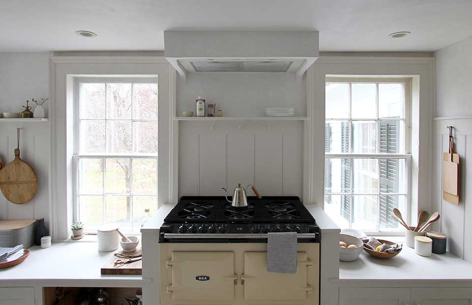 Kitchen with white paint everywhere