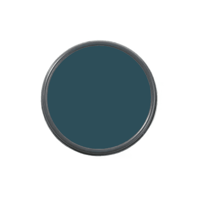 An overhead shot of a paint can with navy paint in it