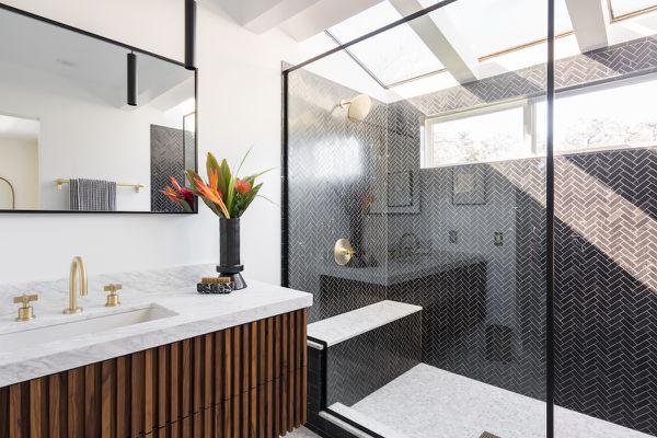 After bathroom with modern walk in shower.