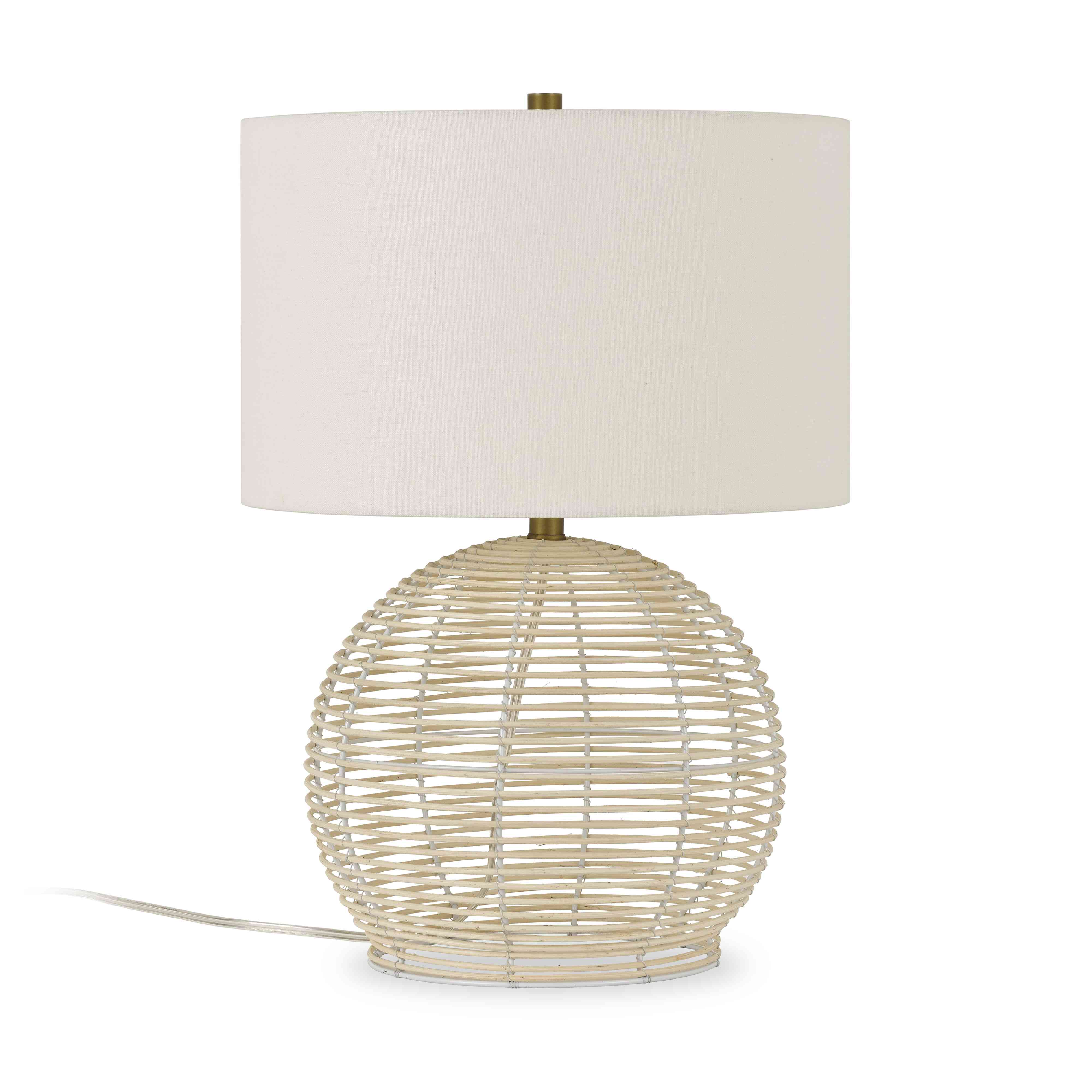 Rattan lamp with white lampshade