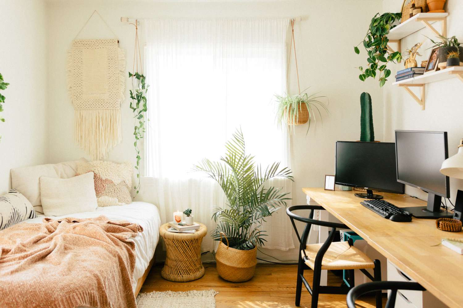 palm and assorted plants in a bright boho bedroom