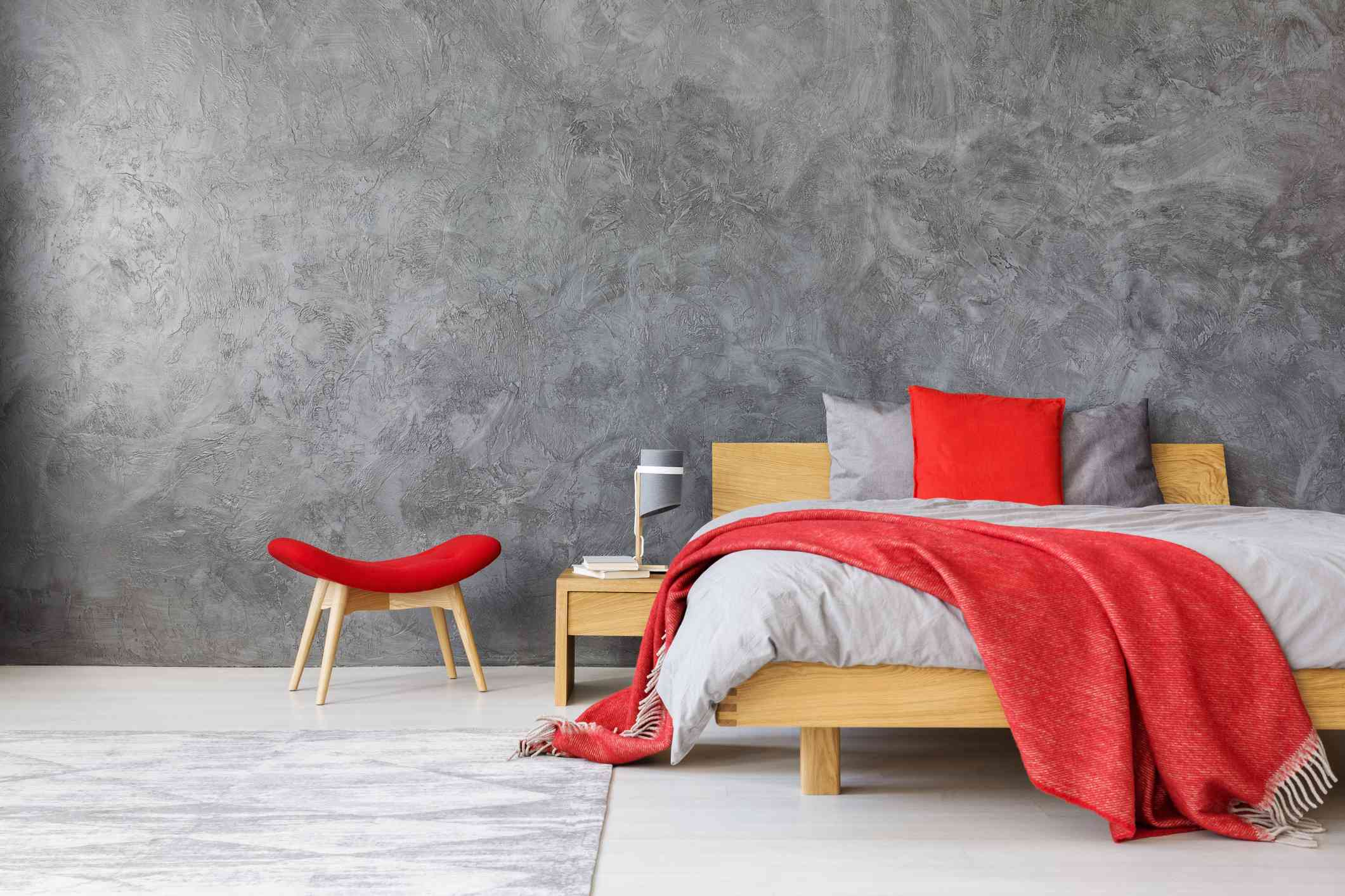 red accents bedroom