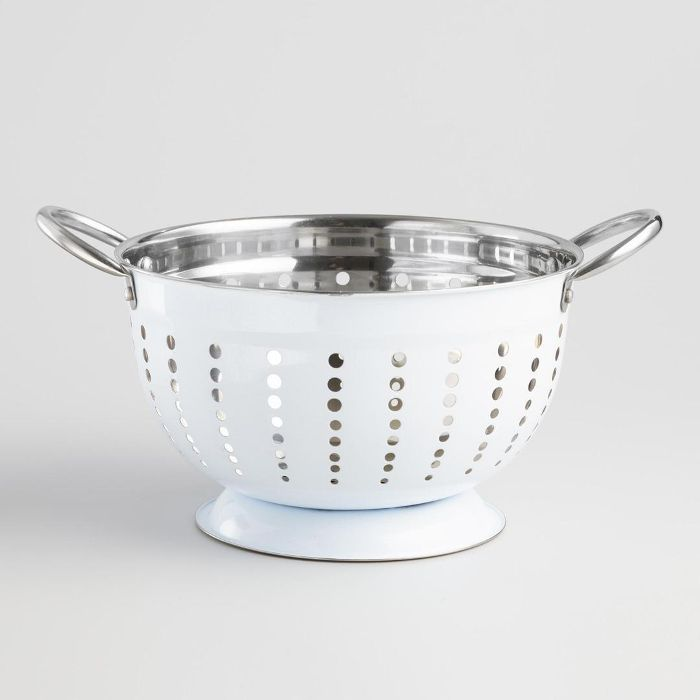 White Enamel Stainless Steel Footed Colander by World Market