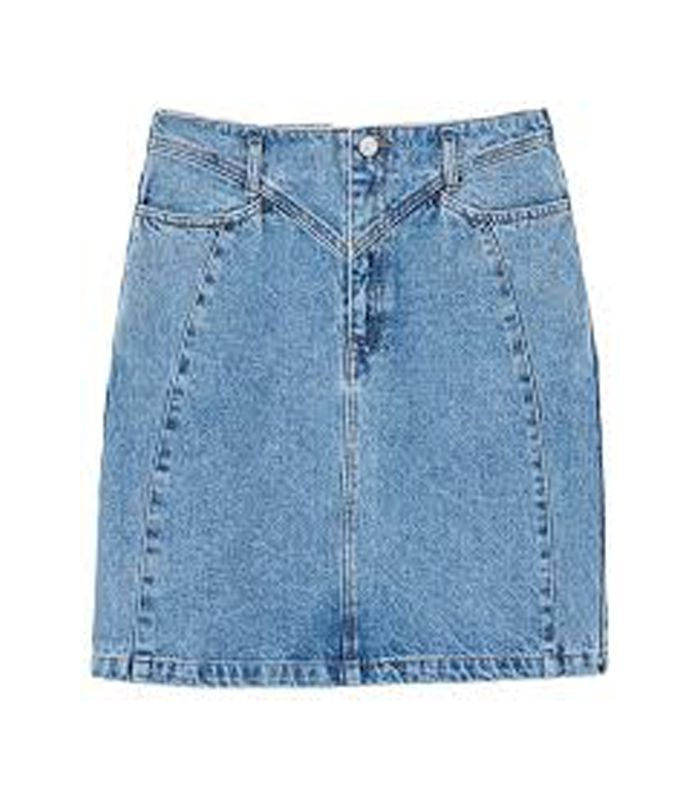 Interwoven cord denim skirt
