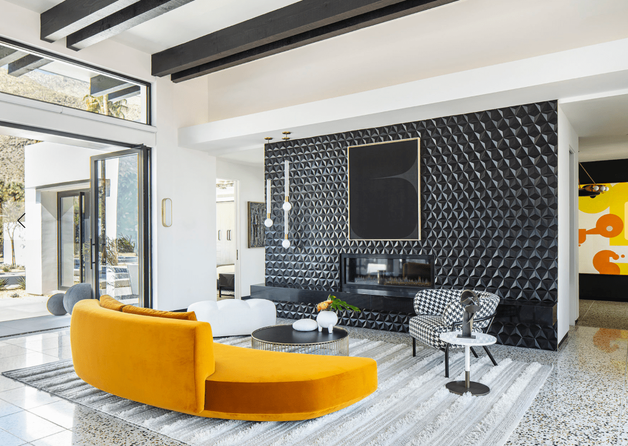 Living room with textured wall