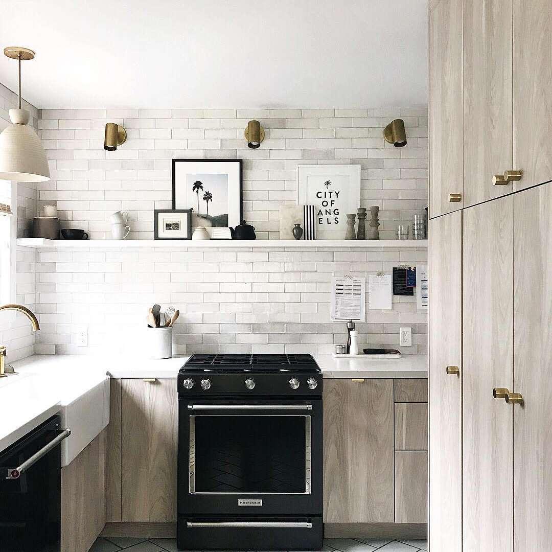 Black and light wood kitchen