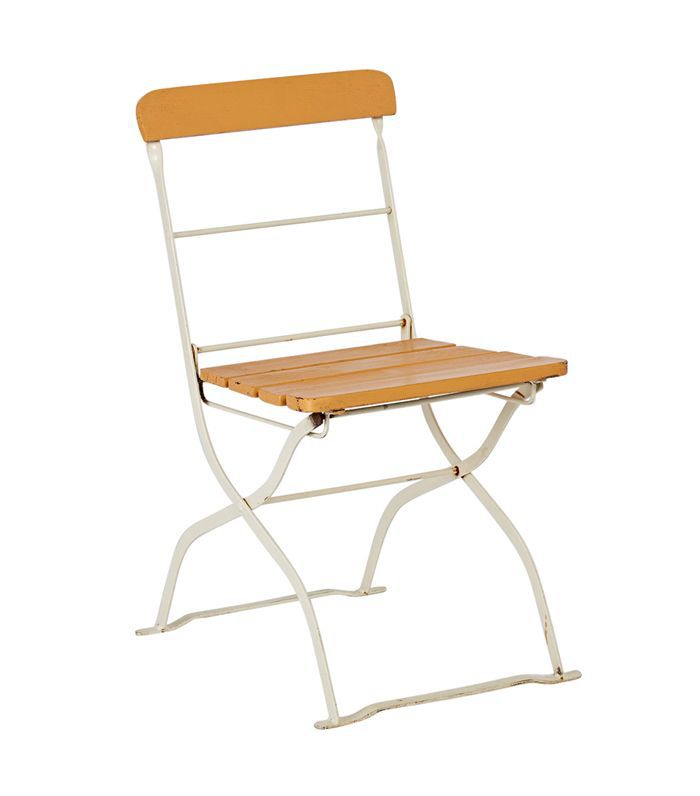 Folding Steel and Wood Bistro Patio Chair