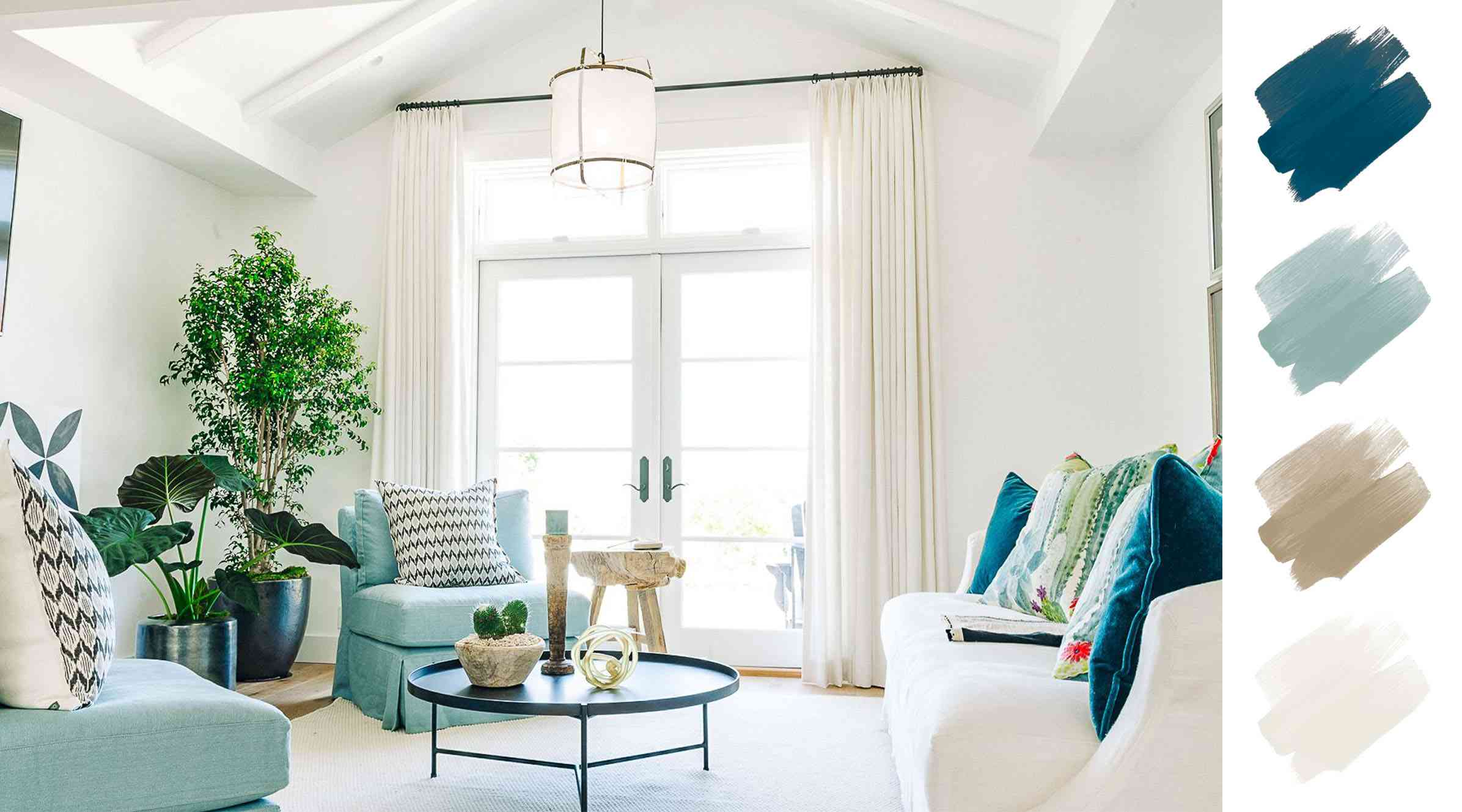 living room color schemes - robin's egg blue, peacock and white