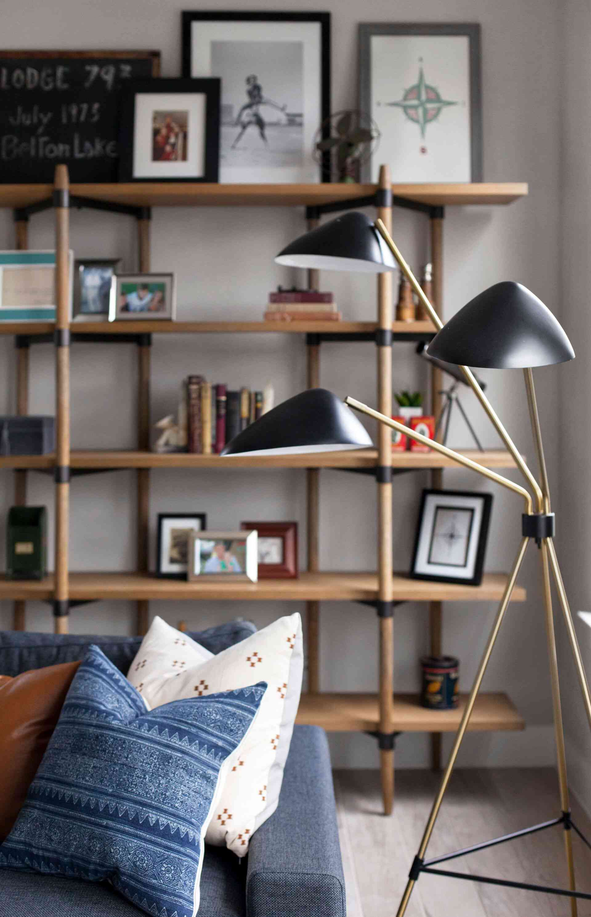 Mid-Century style living room shelves and light fixture