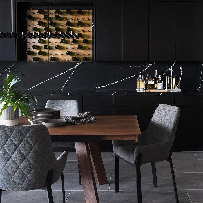 Black dining room design