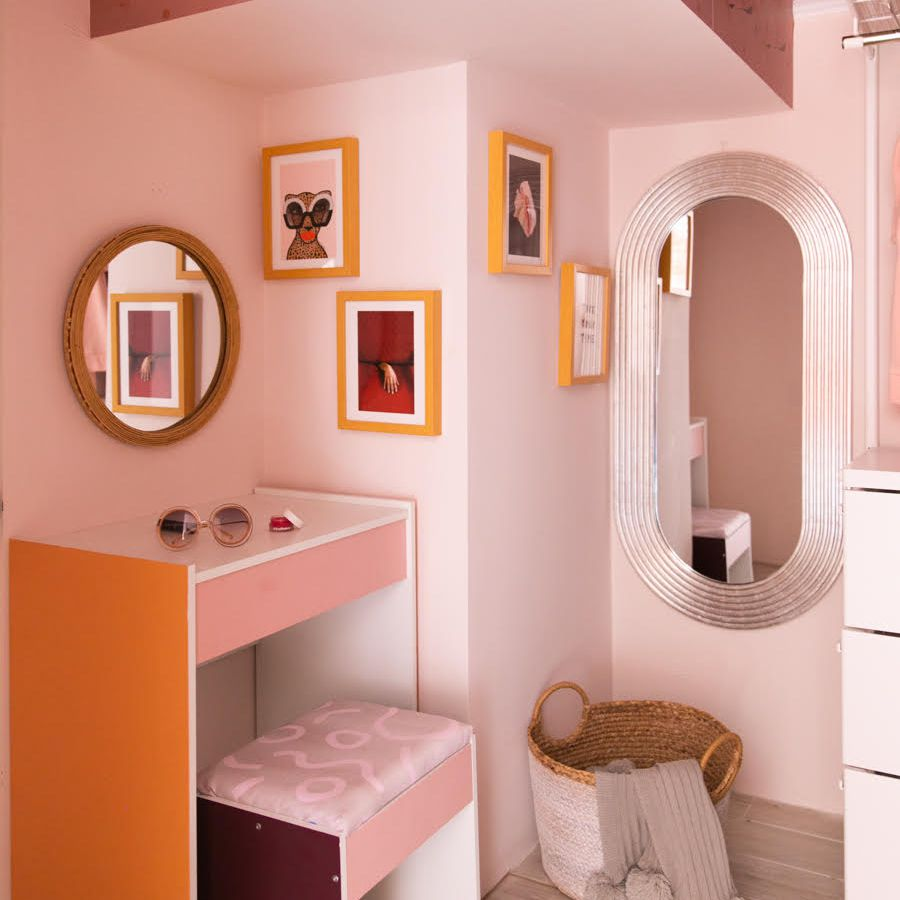 pale pink and apricot