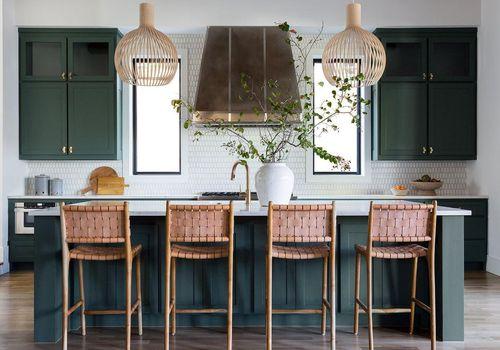 Dark green kitchen cabinets