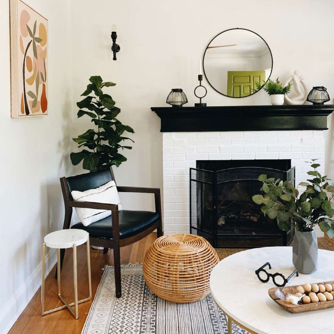 Fireplace with black and white accents