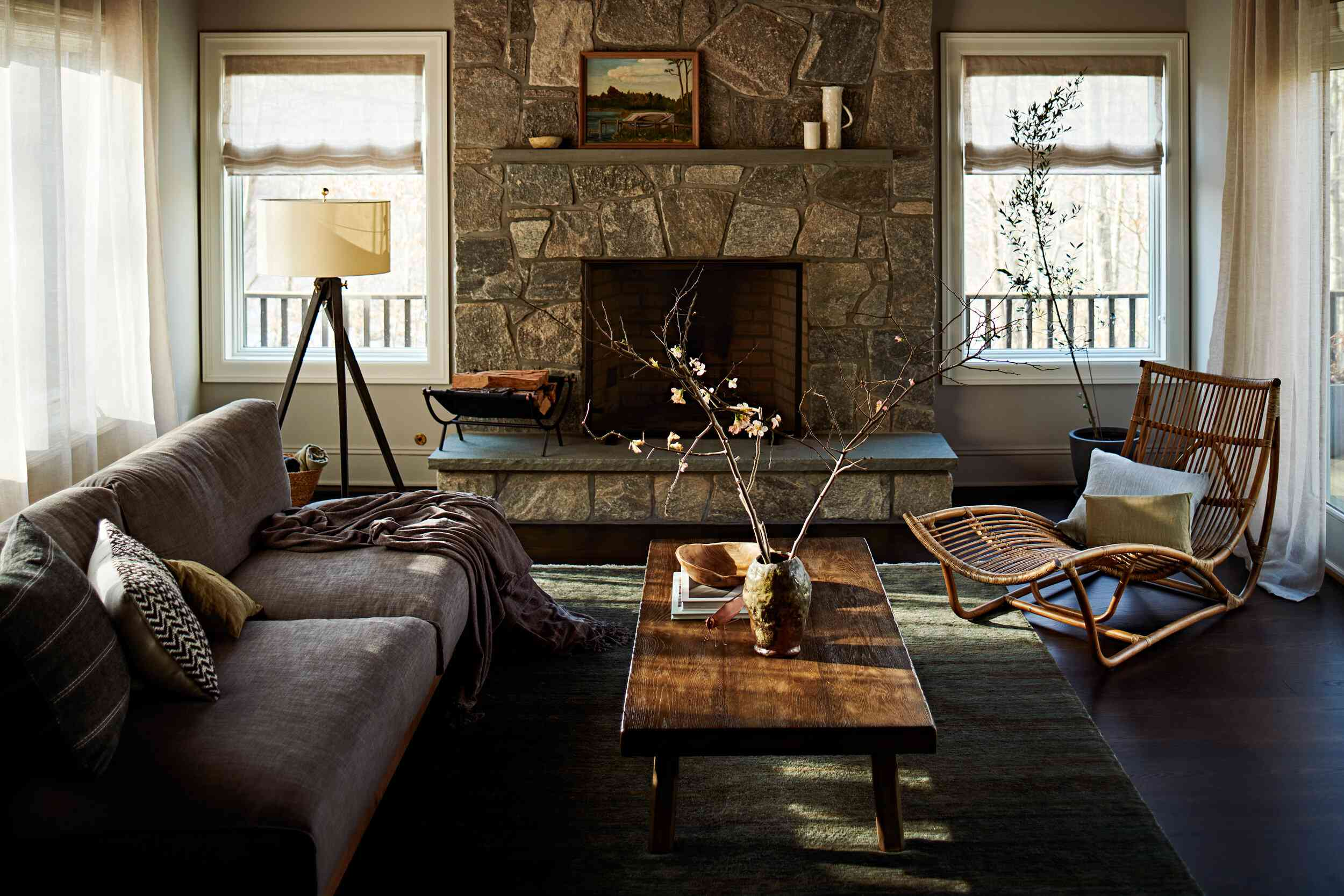 Cozy living room with stone fireplace