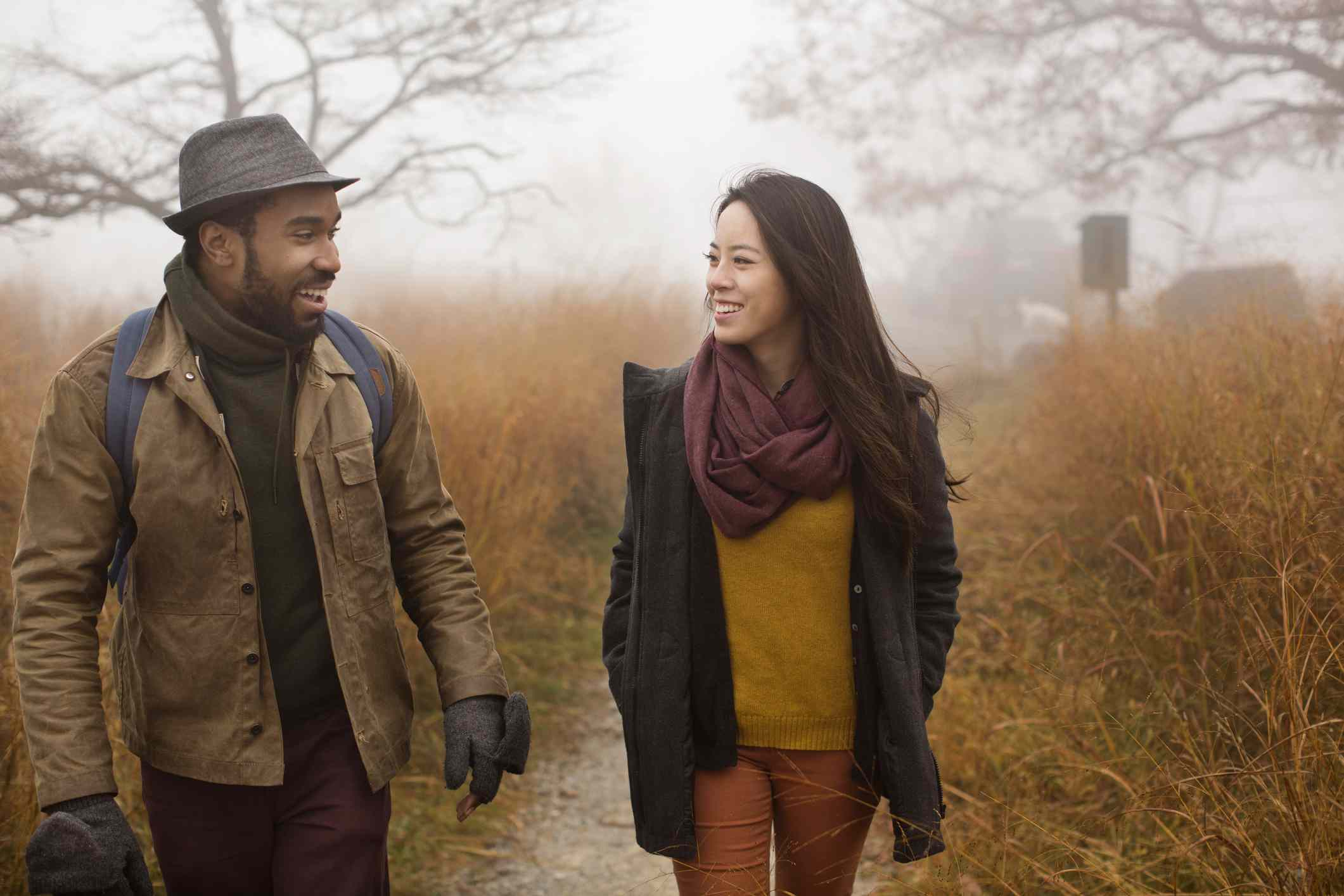 Couple hikes during fall season
