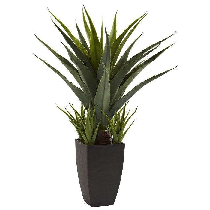 Nearly Natural Agave Plant with Black Planter, Green