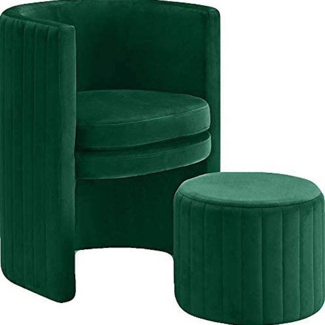 Green velvet chair.